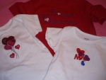 Valentine onsies and t-shirts