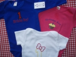 Birthday onsies or shirts for boys and girls