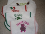 Personalized bibs, blankets, shirts