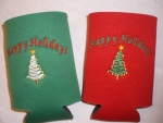 Embroidered or heat pressed holiday coolies